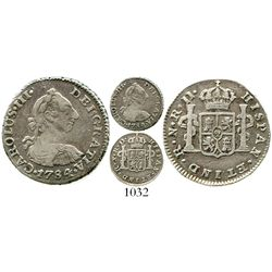 Bogota, Colombia, bust 1/2 real, Charles III, 1784JJ, very rare. KM-45.1; Restrepo-32.13; CT-1830. 1