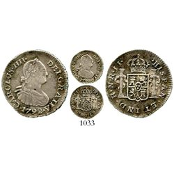Bogota, Colombia, bust 1/2 real, Charles IV, 1792JJ, rare. KM-57; Restrepo-77.1; CT-1327. 1.6 grams.