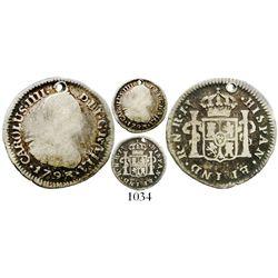 Bogota, Colombia, bust 1/2 real, Charles IV, 1793JJ, rare. KM-57; Restrepo-77.2; CT-1328. 1.6 grams.