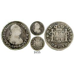 Bogota, Colombia, bust 1/2 real, Charles IV, 1794JJ, rare. KM-57; Restrepo-77.3; CT-1329. 1.8 grams.