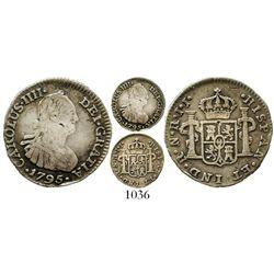 Bogota, Colombia, bust 1/2 real, Charles IV, 1795JJ, rare. KM-57; Restrepo-77.4; CT-1330. 1.9 grams.