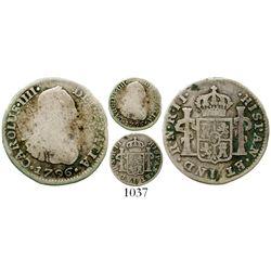 Bogota, Colombia, bust 1/2 real, Charles IV, 1796JJ, rare. KM-57; Restrepo-77.5; CT-1331. 1.7 grams.