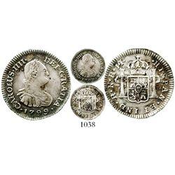 Bogota, Colombia, bust 1/2 real, Charles IV, 1799JJ, rare. KM-57; Restrepo-77.7; CT-1332. 1.8 grams.