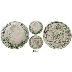 Bogota, Colombia, bust 1/2 real, Ferdinand VII (bust of Charles IV), 1812/1JF, mintmark as MR, Restr