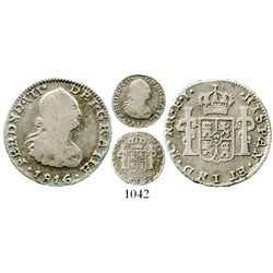 Bogota, Colombia, bust 1/2 real, Ferdinand VII (bust of Charles IV), 1816FJ. KM-69.1; Restrepo-106.7