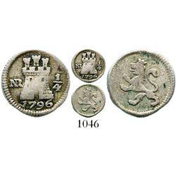 Bogota, Colombia, 1/4 real, Charles IV, 1796. KM-63; Restrepo-75.1; CT-1428. 0.9 gram. Problem-free