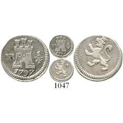 Bogota, Colombia, 1/4 real, Charles IV, 1797. KM-63; Restrepo-75.3; CT-1429. 0.9 gram. Off-center XF