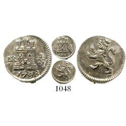 Bogota, Colombia, 1/4 real, Charles IV, 1798. KM-63; Restrepo-75.6; CT-1431. 0.7 gram. Bold UNC, par