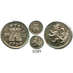 Bogota, Colombia, 1/4 real, Charles IV, 1799/8. KM-63; Restrepo-75.7; CT-1432. 1.1 grams. Beautifull