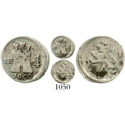 Bogota, Colombia, 1/4 real, Charles IV, 1800, rare. KM-63; Restrepo-75.10; CT-1434. 0.6 gram. Decent