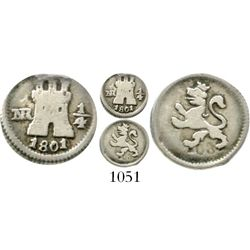 Bogota, Colombia, 1/4 real, Charles IV, 1801/0, clashed dies. KM-63; Restrepo-75.11; CT-1435. 0.8 gr
