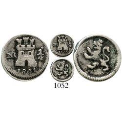 Bogota, Colombia, 1/4 real, Charles IV, 1801 (no overdate). KM-63; Restrepo-75.12; CT-1436. 1.0 gram