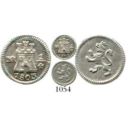 Bogota, Colombia, 1/4 real, Charles IV, 1803. KM-63; Restrepo-75.17; CT-1439. 0.9 gram. Lustrous AU