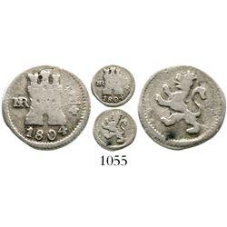 Bogota, Colombia, 1/4 real, Charles IV, 1804, rare. KM-63; Restrepo-75.19; CT-1440. 0.8 gram. Fine+