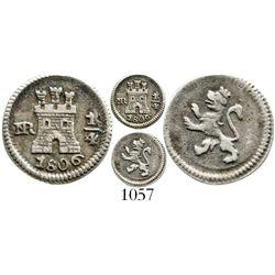 Bogota, Colombia, 1/4 real, Charles IV, 1806. KM-63; Restrepo-75.23; CT-1442. 0.8 gram. Bold XF, nic