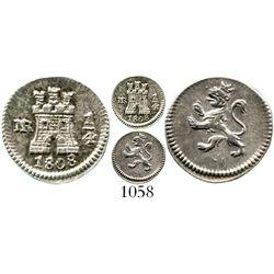 Bogota, Colombia, 1/4 real, Charles IV, 1808. KM-63; Restrepo-75.27; CT-1444. 0.9 gram. Lustrous Min