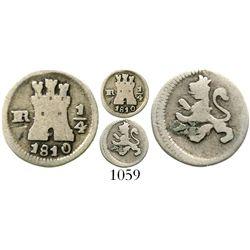 Bogota, Colombia, 1/4 real, Ferdinand VII, 1810. KM-67.1; Restrepo-100.5; CT-1481. 0.8 gram. AVF wit