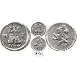Bogota, Colombia, 1/4 real, Ferdinand VII, 1816. KM-67.1; Restrepo-100.15; CT-1487. 0.7 gram. Decent