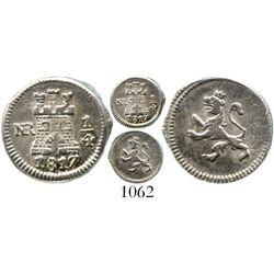 Bogota, Colombia, 1/4 real, Ferdinand VII, 1817. KM-67.1; Restrepo-100.17; CT-1488. 0.9 gram. Lustro
