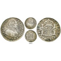 Popayan, Colombia, bust 2 reales, Ferdinand VII (bust of Charles IV), 1810JF. KM-70.2; Restrepo-114.
