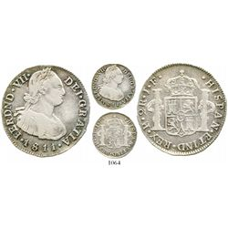 Popayan, Colombia, bust 2 reales, Ferdinand VII (bust of Charles IV), 1811/0JF. KM-70.2; Restrepo-11