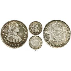 Popayan, Colombia, bust 2 reales, Ferdinand VII (bust of Charles IV), 1814/3JF, rare. Restrepo-114.6