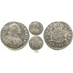 Popayan, Colombia, bust 2 reales, Ferdinand VII (bust of Charles IV), 1820/10MF. Restrepo-114.12