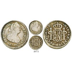 Popayan, Colombia, bust 1 real, Ferdinand VII (bust of Charles IV), 1813/0JF, rare. Restrepo-112.2