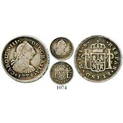 Popayan, Colombia, bust 1/2 real, Charles III, 1774JS, ex-Ray Johnson, scarce. KM-45.2; Restrepo-34.