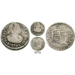 Contemporary counterfeit of a Popayan, Colombia, 1/2 real, Ferdinand VII, 1818.  1.3 grams. Crude le