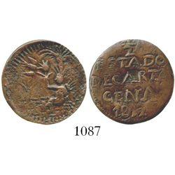 Cartagena (Republican), Colombia, copper 1/2 real, 1812. Restrepo-131.2; KM-D2. 3.6 grams. Bold AXF