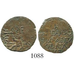Cartagena (Republican), Colombia, copper 1/2 real, 1813. Restrepo-131.3; KM-D2. 2.1 grams. Dark-brow