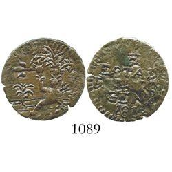 Cartagena (Republican), Colombia, copper 1/2 real, 1813. Restrepo-131.3; KM-D2. 1.9 grams. Bold VF d