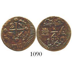Santa Marta, Colombia (Royalist), copper 1/4 real, Ferdinand VII, 1820. KM-B4; Restrepo-104.1; CT-16