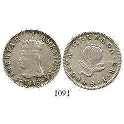 "Colombia, 2 reales, 1819JF, ""LIBERTAD AMERICANA"" type, rare. Restrepo-140.1; KM-76. 6.2 grams. Bold"