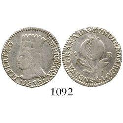 "Colombia, 1 real, 1815JF, ""LIBERTAD AMERICANA"" type, rare. Restrepo-133.5; KM-F1. 2.1 grams. Lustrou"