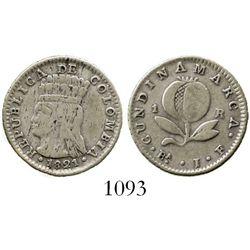 Bogota, Colombia (Cundinamarca), 1 real, 1821JF, mintmark with dot under A. Restrepo-152.1; KM-B9. 2