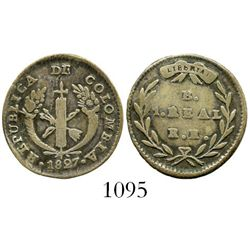 Bogota, Colombia, 1 real, 1827RR. Restrepo-153.2; KM-87.1. 2.6 grams. Deeply toned VF with crude obv