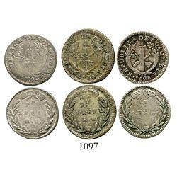 Lot of 3 Popayan, Colombia, 1R (1828RU, 1830RU and 1832/1RU). Restrepo-154; KM-87.2. 8.1 grams total
