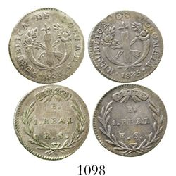 Lot of 2 Bogota, Colombia, 1R (1833RS and 1835RS). KM-87.1. 5.5 grams total. Lightly toned VF on ave