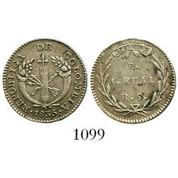 Bogota, Colombia, 1 real, 1835RS. Restrepo-153.14; KM-87.1. 2.6 grams. Choice XF+ with hint of luste