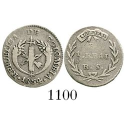 Bogota, Colombia, 1/2 real, 1834RS. Restrepo-150.3; KM-88.1. 1.4 grams. Decent VF with lightly toned