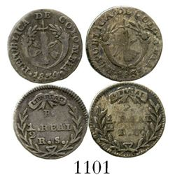 Lot of 2 Colombian 1/2R (Bogota 1834RS and Popayan 1835RU). Restrepo-150 and 151; KM-88.1 and 88.2.