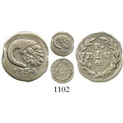 Popayan, Colombia, 1/4 real, 1834RU. Restrrepo-147.7; KM-85.3. 0.7 gram. Bold centers but crude rims