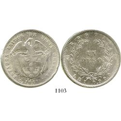 Bogota, Colombia, 1 peso, 1861. Restrepo-243.1; KM-138. 24.9 grams. Lightly cleaned VF/XF with minor