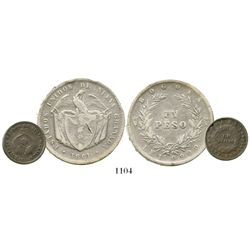 Lot of 2 Bogota, Colombia, silver coins of 1861 (1 peso and 1 decimo).  Restrepo-243.1 and 242.1; KM