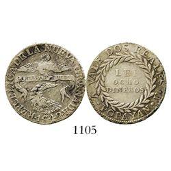 Popayan, Colombia, 2 reales, 1842VU, rare assayer for date. Restrepo-188.6; KM-97.2. 5.9 grams. Ligh
