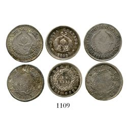 Lot of 3 Bogota, Colombia, 1R (1838RS, 1846RS and 1852). Restrepo-182 and 185; KM-91.1 and 112. 8.1