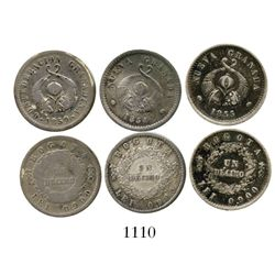 Lot of 3 Bogota, Colombia, 1D (1854, 1855 and 1859). Restrepo-186 and 224; KM-115 and 125. 7.3 grams