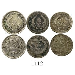 Lot of 3 Colombian 1/2R (Bogota 1839RS; Popayan 1838RU, 1846UE). Restrepo-177 and 178; KM-96.1 and 9